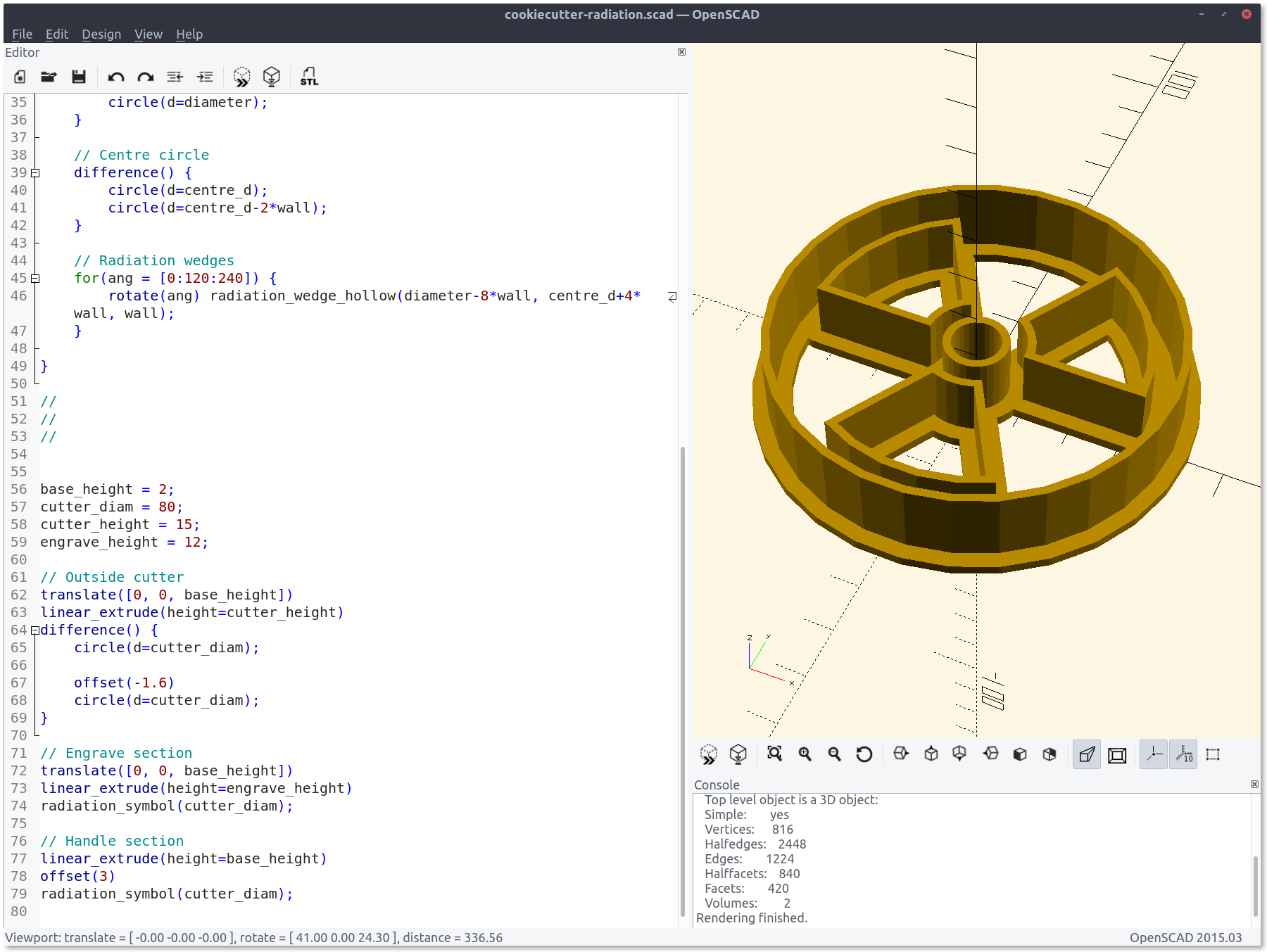 OpenSCAD interface, showing a render of the radiation symbol cookie cutter and part of the code that generates it